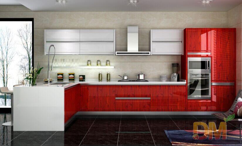 de cocina rojos del barniz del secado para la venta – Gabinetes de