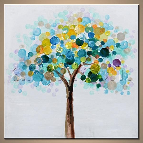 Peinture l 39 huile moderne de toile avec des arbres peinture l 39 hui - Peinture a l huile prix ...