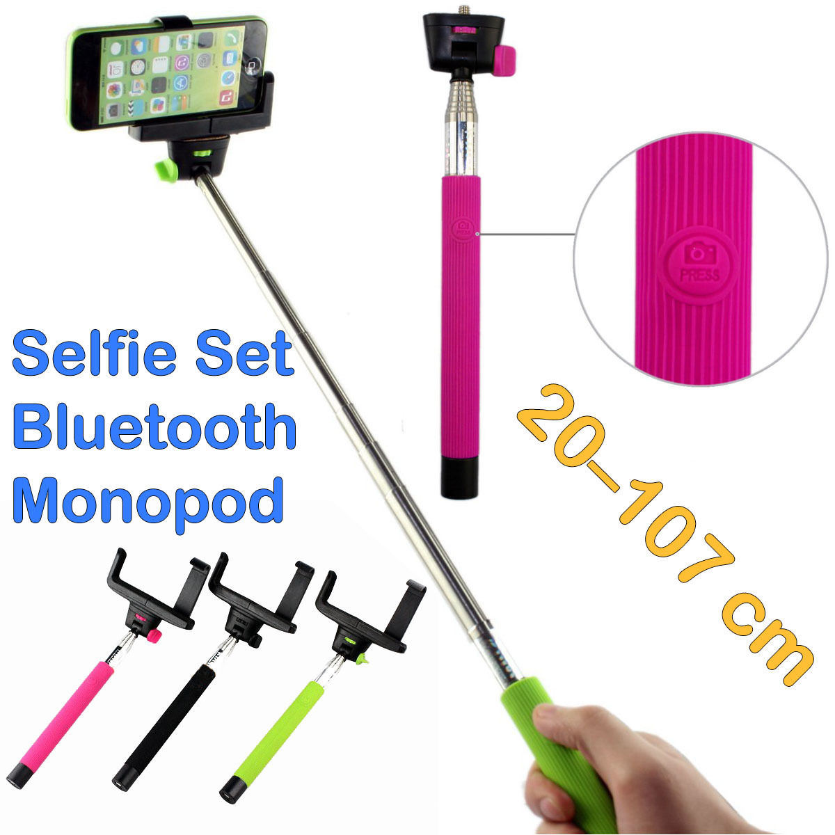 nouveau common selfie set bluetooth wireless monopod pour l 39 iphone samsung nouveau common. Black Bedroom Furniture Sets. Home Design Ideas