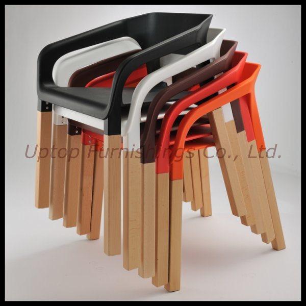 Kleurrijke stapelbare plastic stoel met houten been sp uc001 kleurrijke stapelbare plastic - Houten plastic stoel ...