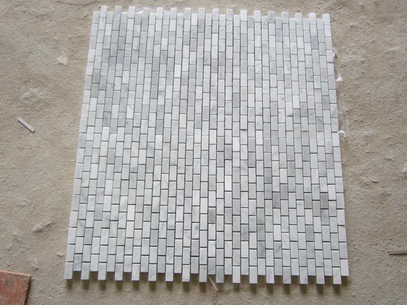 Azulejos Baño Tipo Mosaico:White Carrara Marble Brick Mosaic