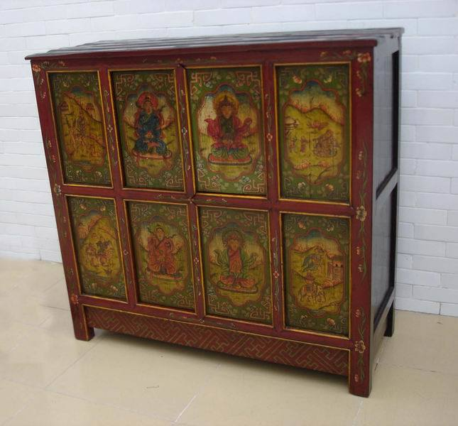 Cabinet antique chinois du meuble thibet b7933 cabinet for Le meuble villageois furniture