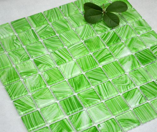 Baño Pintado De Verde:Azulejo de mosaico de cristal pintado verde (TG-FY-073) – Azulejo de