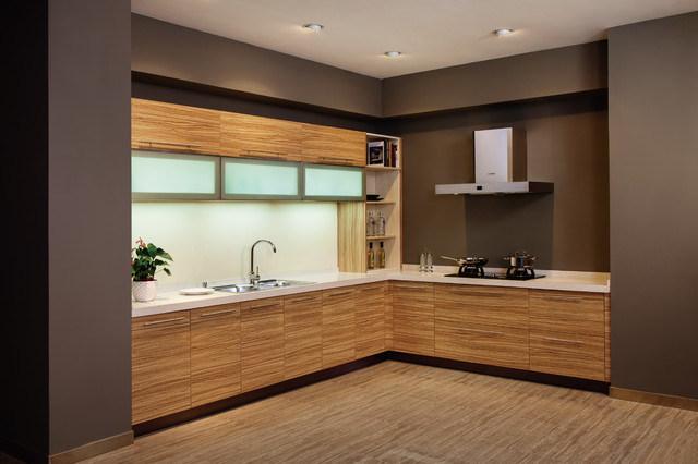 Cabinet de cuisine en bois stratifi par m lamine de for Panneau de particule melamine