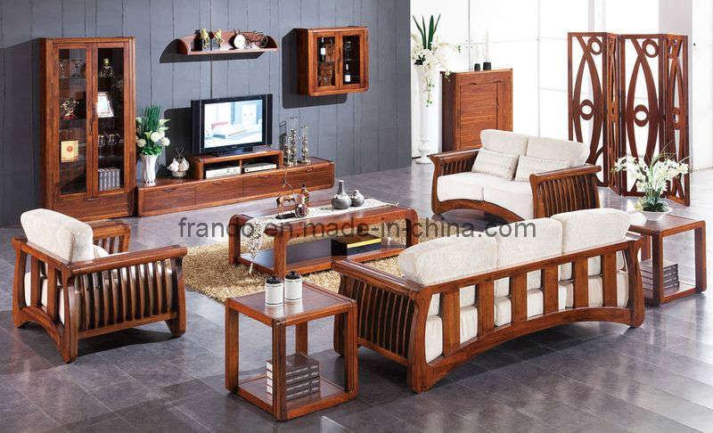Sof de madera del marco aae201 sof de madera del for Muebles industriales sala de estar