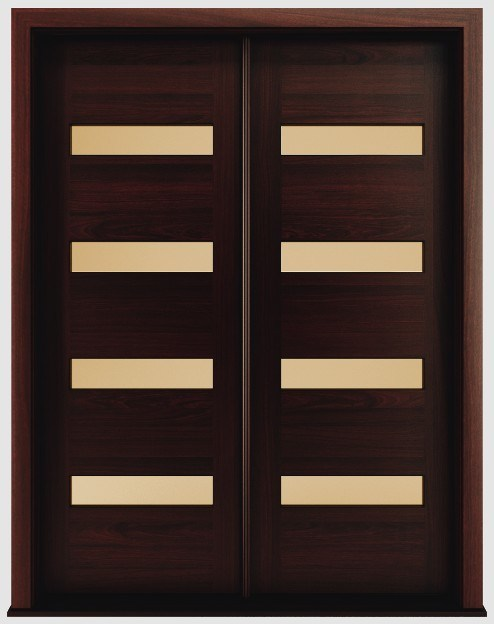 Foto de puertas exteriores modernas de caoba de madera for Puertas de entrada modernas precios