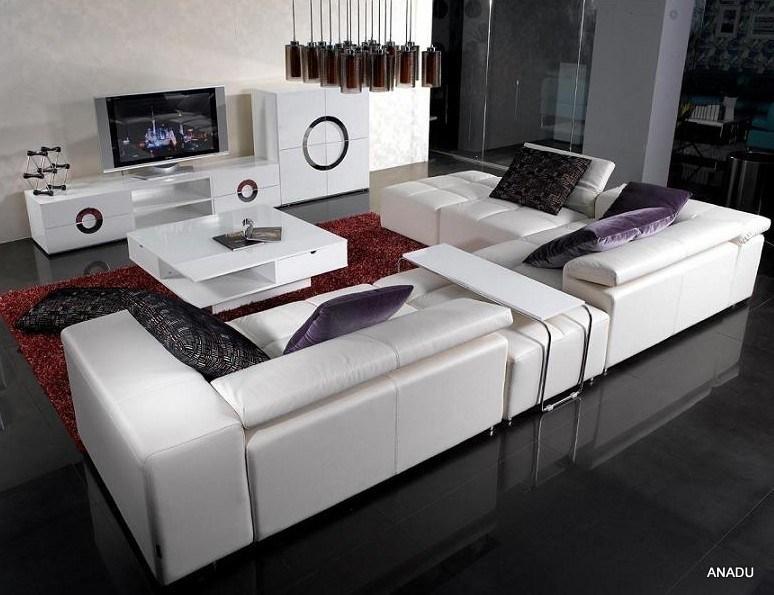 Vorm van uitstekende kwaliteit van l van de kleur van het leer van de koe de witte voor de bank - Sofa van de hoek uitstekende ...