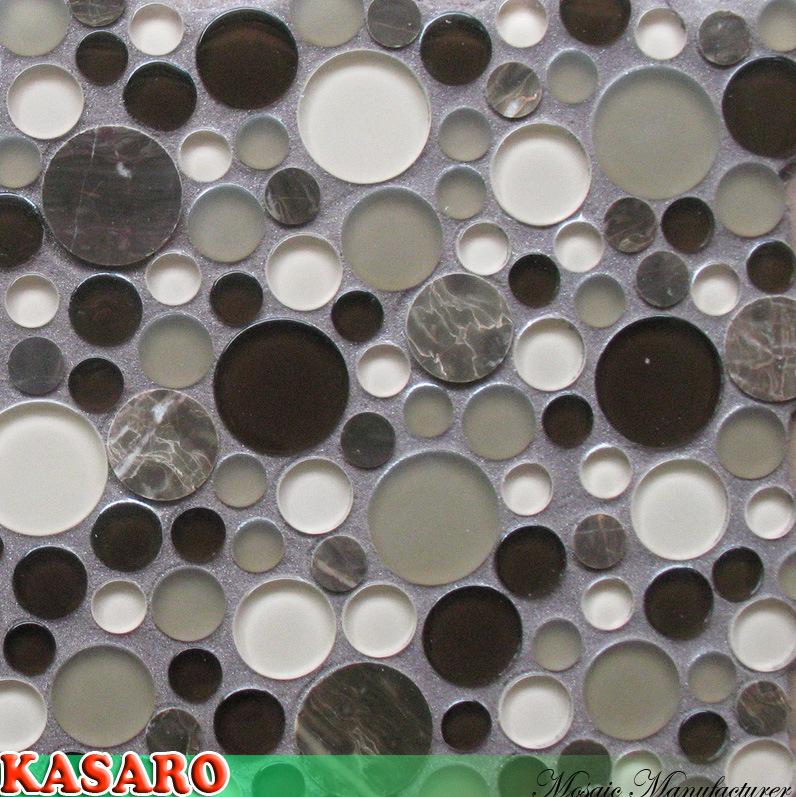 mosa que ronde de tuile en verre mosa que en verre ronde. Black Bedroom Furniture Sets. Home Design Ideas