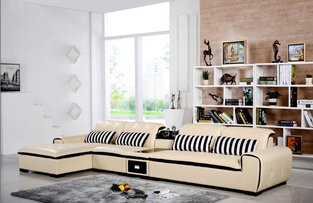 De beige bank van het leer van de kleur met lade het meubilair van het huis de beige bank van - Eigentijdse bank ...