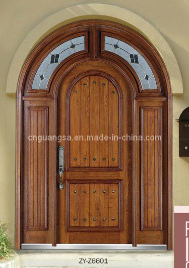 Puerta de madera exterior del compuesto dise o de la puerta doble zy z6601 puerta de madera for Disenos de puertas de madera para exterior