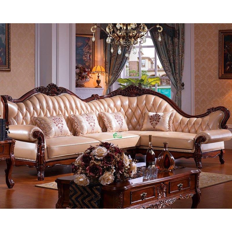 Sof cama de sof de la esquina de cuero de madera yf - Sofa cama esquina ...