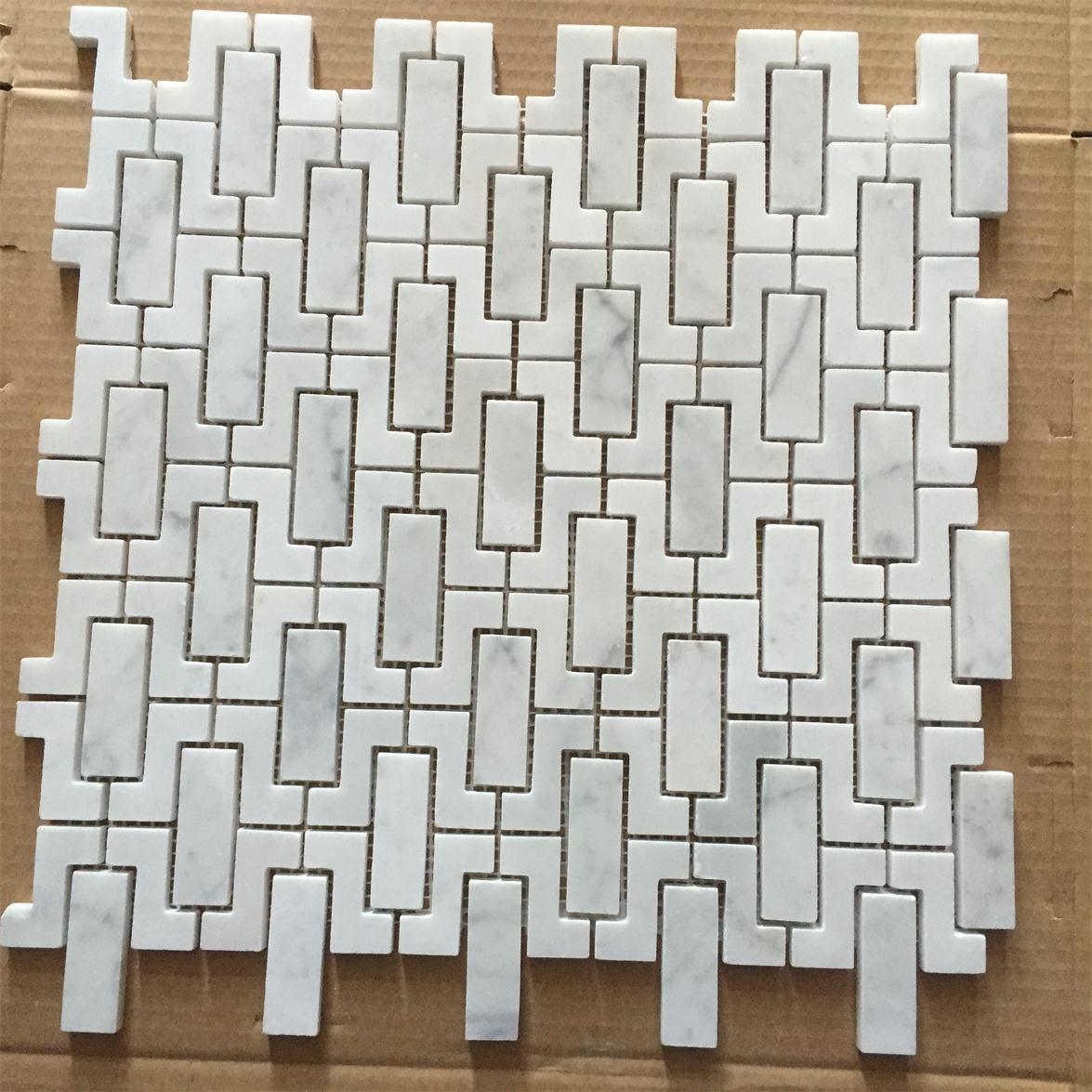 Mosaïque de marbre blanche de Bianco Carrare pour le mur de salle ...