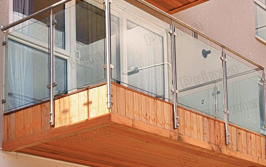 Напольная нержавеющая сталь balcony railing с glass - наполь.