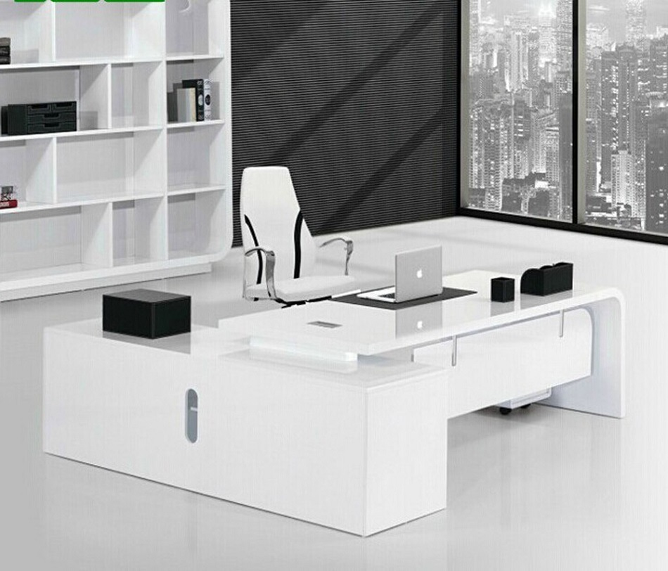 Foto de escritorio de oficina de madera blanco moderno de for White modern office furniture
