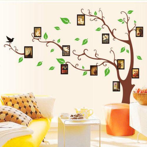 가정 장식 가족 사진 프레임 나무 이동할 수 있는 전사술 룸 벽 ...