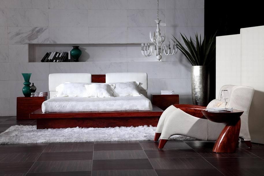Cama de cuero 2013 cama moderna madera s lida sl1291 for Camas de madera modernas