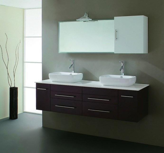 Gabinetes De Baño En Pvc:Gabinete de cuarto de baño de lujo montado en la pared del lavabo