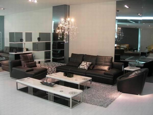 Eigentijdse bank de bank van de hoek van de bank van het leer van het meubilair van de woonkamer - Eigentijdse bank ...