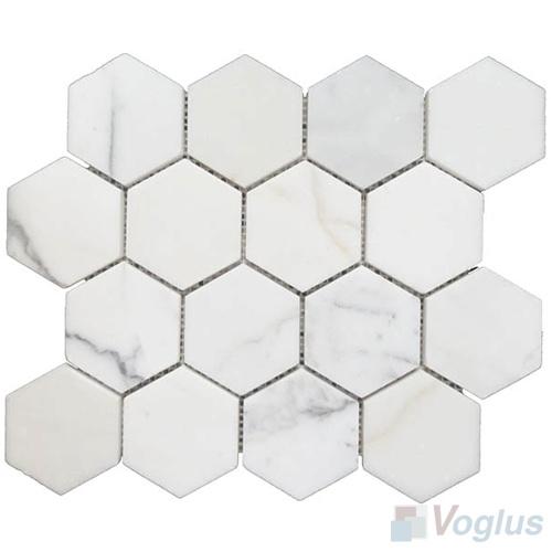 Tuile de marbre blanche de calacatta de grand hexagone polished tuile de marbre blanche de - Marbre blanc calacatta ...