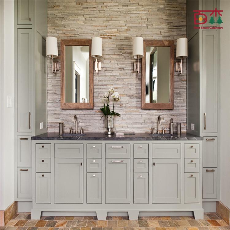 Cabinet de toilette en bois massif en bois massif en for Cabinet de salle de bain