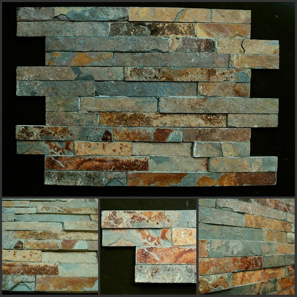 Teja oxidada pizarra pila de piedra de chapa ledgestone - Piedra pizarra oxidada ...