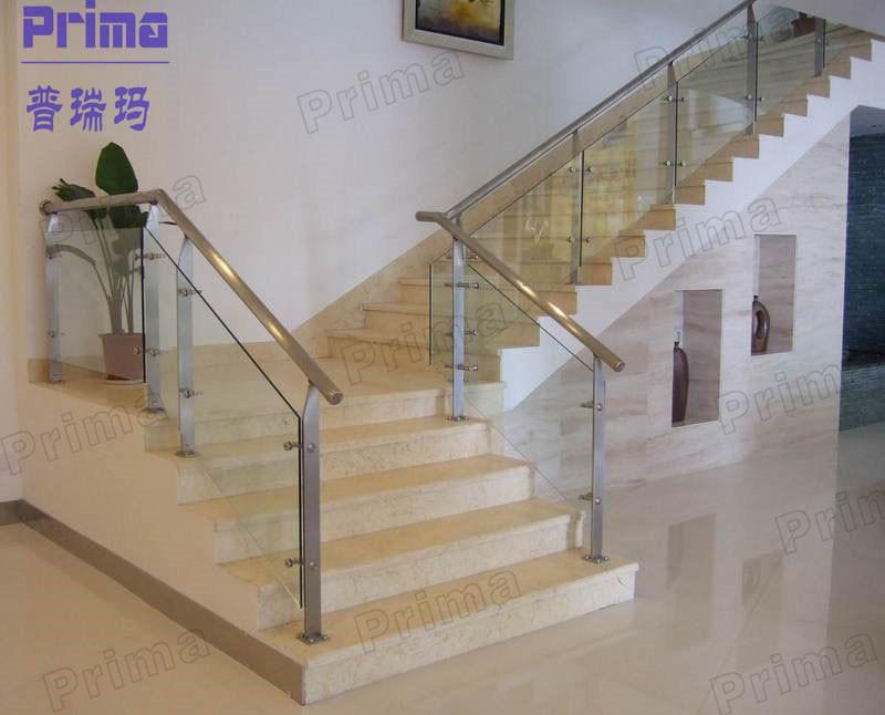 Cristal moderna escalera barandilla con pasamanos de acero - Barandillas escaleras modernas ...