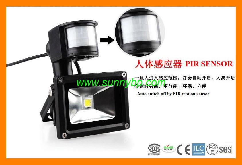 10w luz de inundaci n del led con sensor pir para exterior for Luz de led para exterior