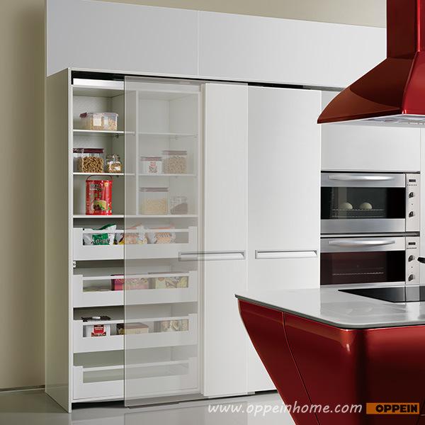 de Gabinete de Cocina MDF Color Rojo Laqueado Brillante (OP12L062) en