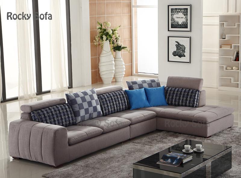 Muebles modernos grises del hogar del sof de la tela del for Muebles espanoles modernos