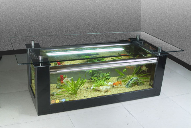 R servoir de poissons de table basse aquarium en verre - Aquarium table basse de salon ...