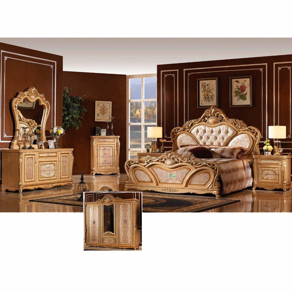 Het antieke meubilair van de slaapkamer dat met klassiek bed en kabinet w808 wordt geplaatst - Meubilair van de ingang spiegel ...