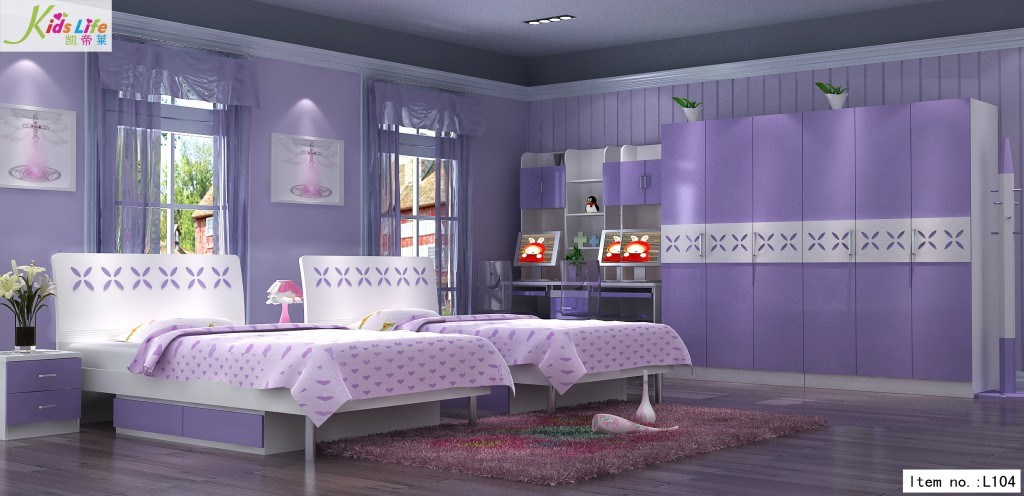 Romastic Purple World Kids Bedroom Furniture Sets L104