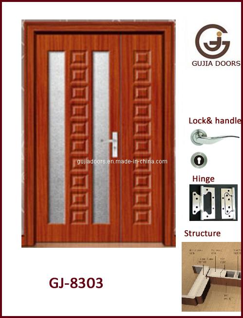 Puerta de madera interior de la hoja doble con el vidrio for Puertas dobles de madera