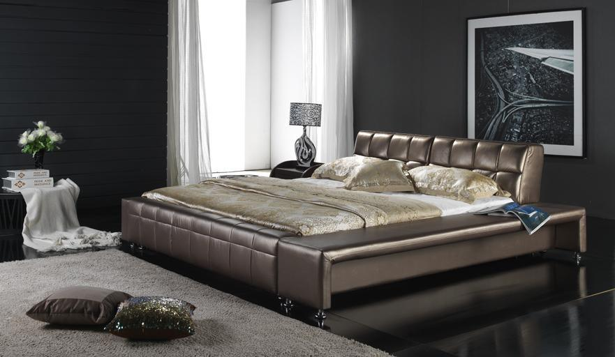 Meubles modernes de chambre coucher lit en cuir 6015 for Modeles chambres a coucher adultes