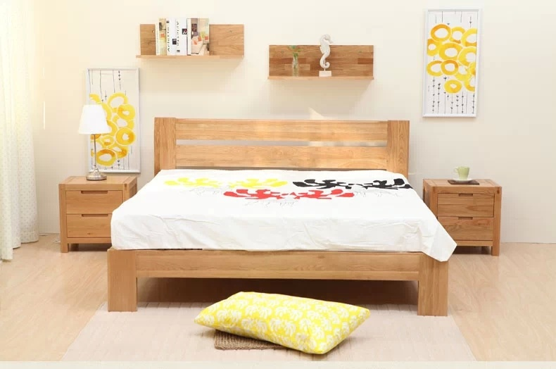 lit gentil en bois de ch ne de mod le double pour l 39 adulte. Black Bedroom Furniture Sets. Home Design Ideas