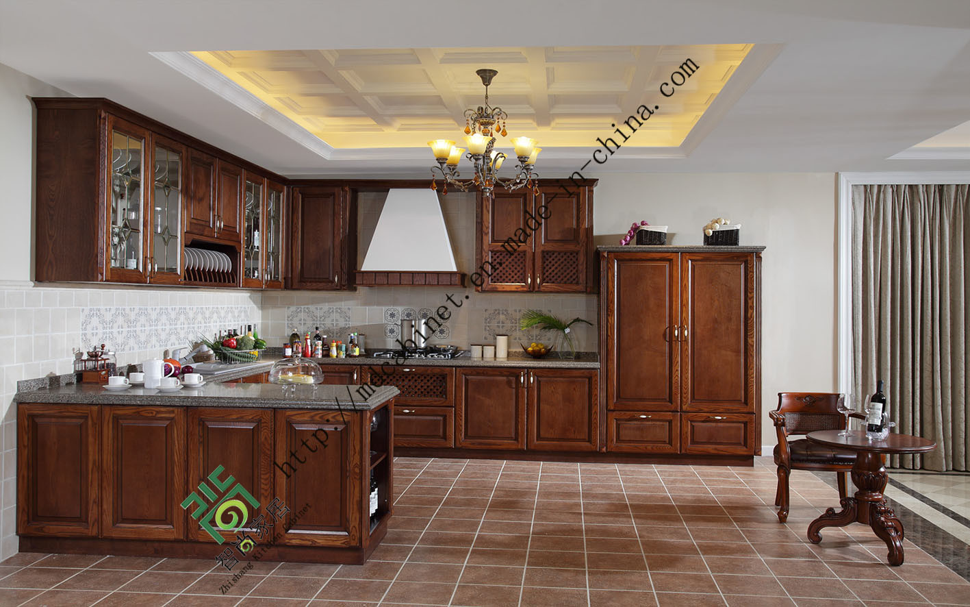Equisite Classic Style Solid Wood Kitchen Cabinet (zs-031)에사진 kr.Made-in-China.com