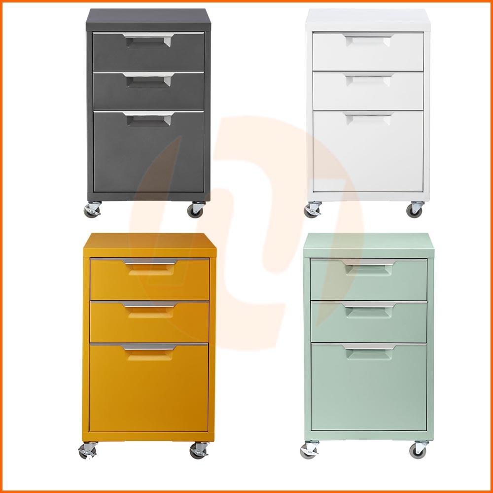 Foto de muebles de oficinas coloridos 3 cajones que ruedan for Muebles para oficina 3