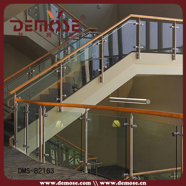 Garde Corp Bois Interieur : Handrail Wood Stair Railing with Glass