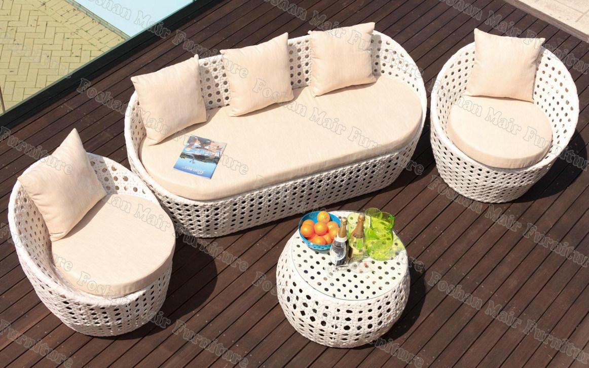 Reeks van uitstekende kwaliteit van de bank van de rotan van het terras de witte m5s238 - Sofa van de hoek uitstekende ...