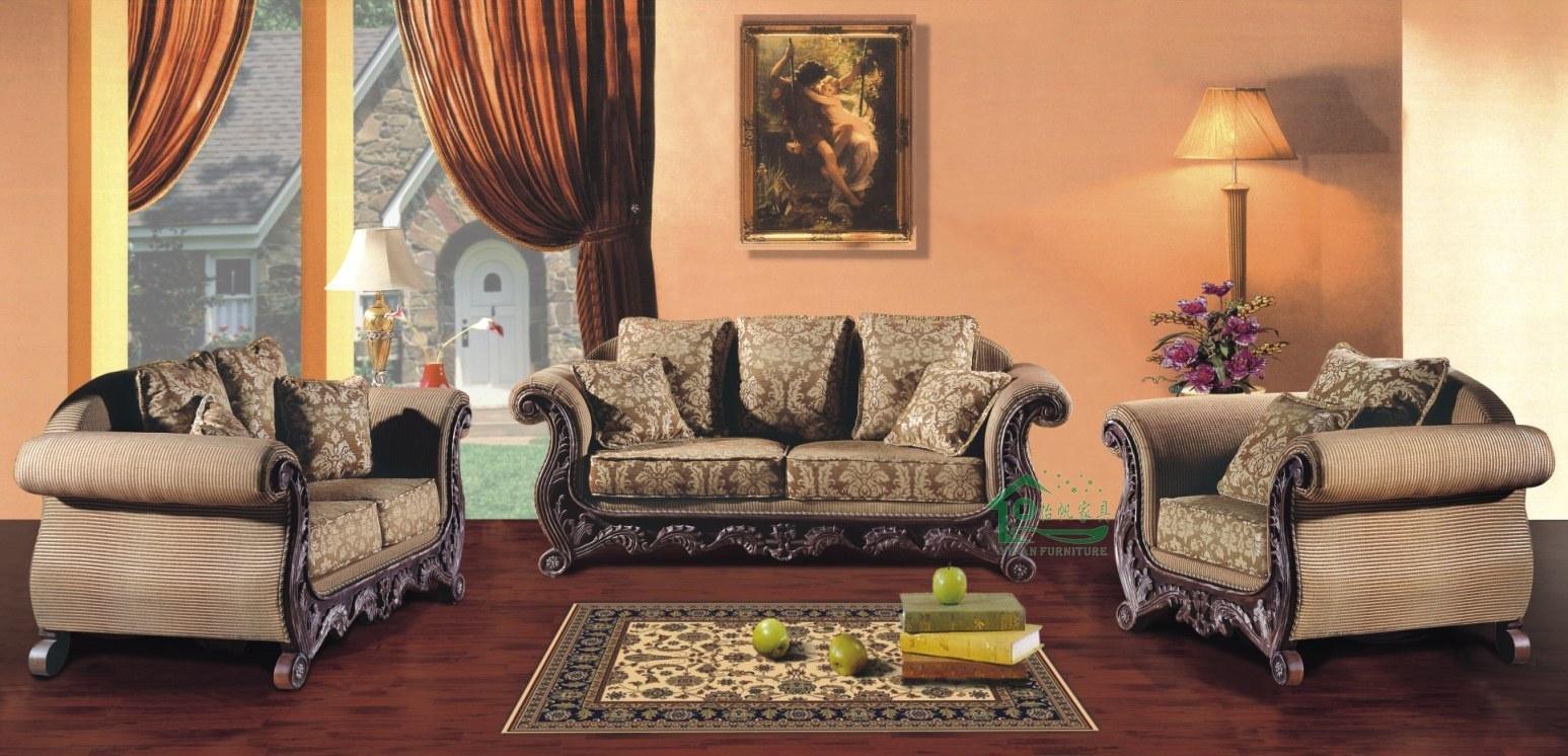 Sof de madera para los muebles de la sala de estar yf for Muebles de sala tallados en madera