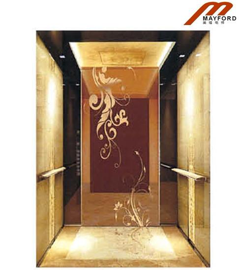 ascenseur luxe de passager avec golden cabin photo sur fr. Black Bedroom Furniture Sets. Home Design Ideas