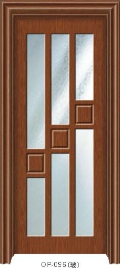 Puerta de madera con el vidrio op 096 puerta de madera for Puertas interiores de madera con vidrio
