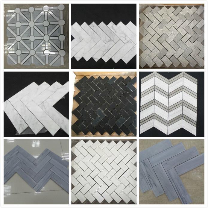 Azulejos de mosaico de m rmol blancos grises negros - Azulejos mosaico bano ...