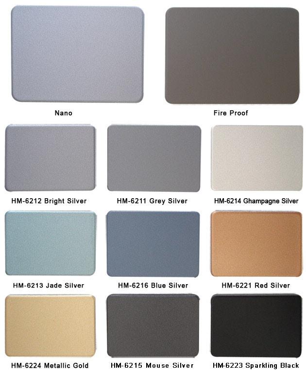 carta de color compuesta de aluminio del panel carta de