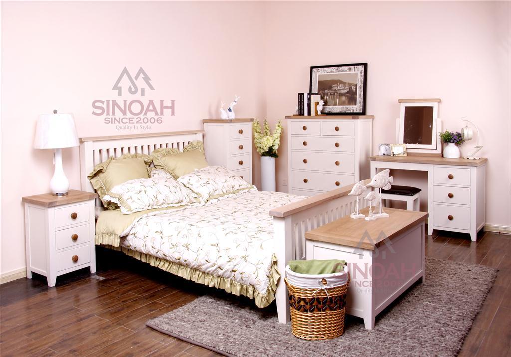 Muebles de madera del dormitorio del roble blanco de los for Dormitorio blanco y madera