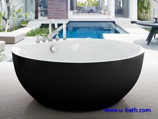 Della fabbrica vasca da bagno moderna nera rotonda - Vasca da bagno indipendente ...