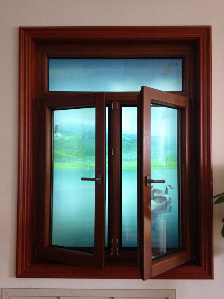 Ventana de aluminio de madera del marco ventana de for Ventanas de aluminio con marco de madera