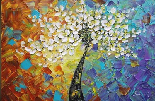 Peinture l 39 huile moderne de fleur de couteau peinture - Peinture fleur moderne ...