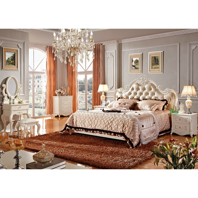 Chambre coucher furniture avec 80 inch classic wood bed for Commande chambre a coucher