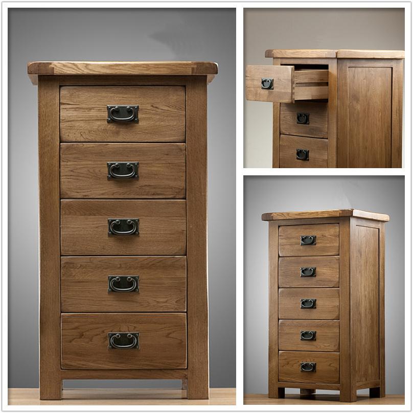 Muebles de madera del roble 5 del pecho sólido del cajón (HSRU004